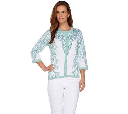 Bob Mackie's Button Front 3/4 Sleeve Printed Cardigan