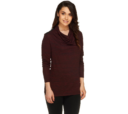Lisa Rinna Collection Cowl Neck Top with Faux Leather Details