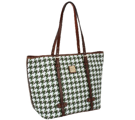 Dooney & Bourke Coated Cotton Houndstooth East/West Shopper