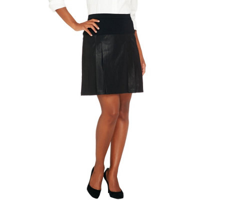 Styled By Joe Zee Faux Leather Pleated Skirt