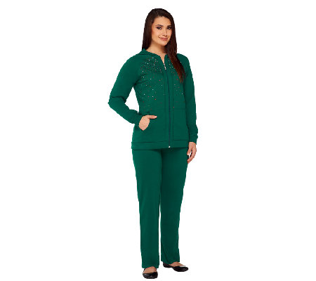 Quacker Factory Super Sparkle French Terry Jacket and Pants Set