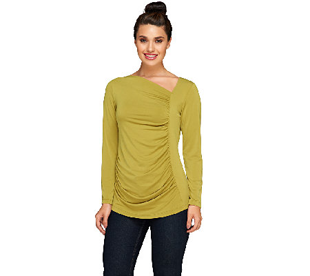 Susan Graver Liquid Knit Asymmetrical Neck Top with Ruched Front