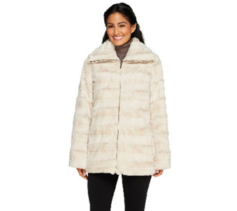 Dennis Basso Brushed Faux Fur Funnel Collar Zip Front Coat - A259804