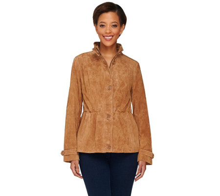 Dennis Basso Washable Suede Anorak with Stand Collar