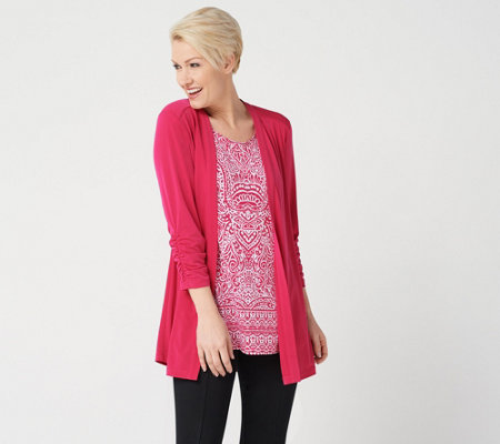 Susan Graver Liquid Knit Cardigan & Printed Tunic Set