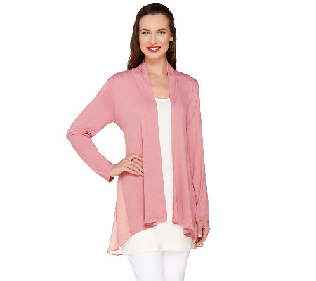 LOGO by Lori Goldstein Open Front Knit Cardigan with Chiffon ...