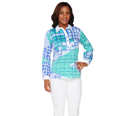 Bob Mackie's Long Sleeve Patchwork Printed Henley Top