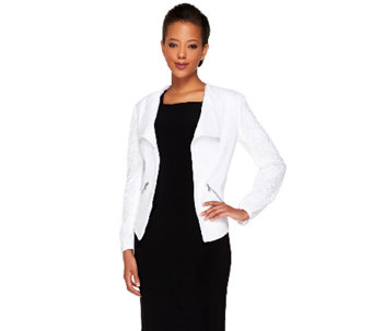 G.I.L.I. Open Front Textured Crepe Jacket with Mesh Sleeves - A264104