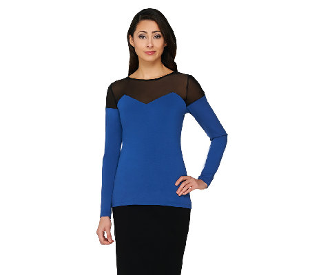 Project Runway by Dmitry Sholokhov Mesh Detail Long Sleeve Top