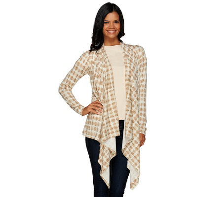 Lisa Rinna Collection Printed Cascade Front Knit Cardigan