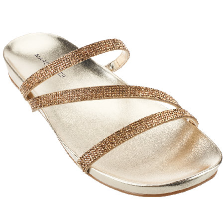 """As Is"" Marc Fisher Triple Strap Rhinestone Sandals- Kalifa"