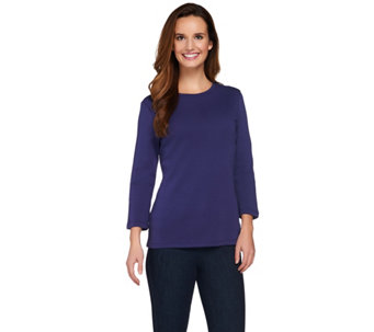 Isaac Mizrahi Live! Essentials Crew Neck 3/4 Sleeve T-Shirt - A272504