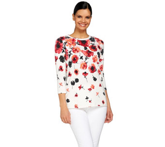 Isaac Mizrahi Live! Engineered Tossed Floral 3/4 Sleeve Top - A272604
