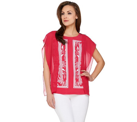Susan Graver Printed Liquid Knit Top with Sheer Chiffon Panels