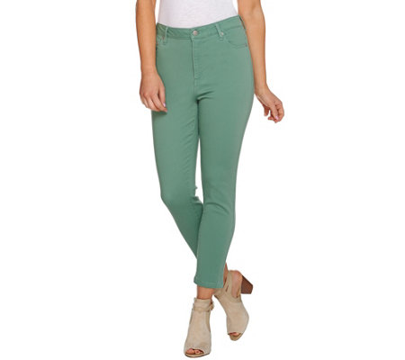 LOGO by Lori Goldstein Fly Front 5-Pocket Crop Jeans