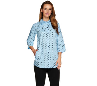 Joan Rivers 3/4 Sleeve Polka Dot Boyfriend Shirt - A275704