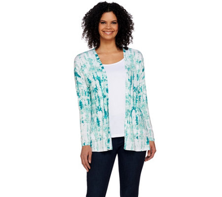 Studio By Denim & Co. Tie Dye Printed Open Front Cardigan