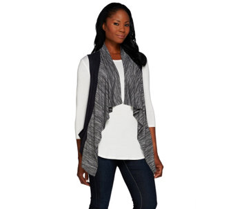 """As Is"" LOGO by Lori Goldstein sweater Knit Vest with Faux Suede Trim - A276304"