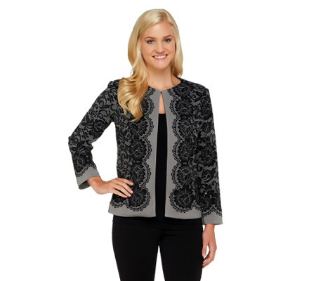 """As Is"" Bob Mackie's Placement Print Lace Jacket"