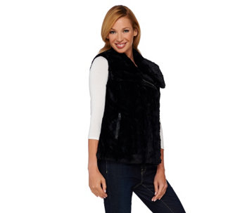 """As Is"" Dennis Basso Asymmetric Zip Front Faux Fur Vest - A277704"