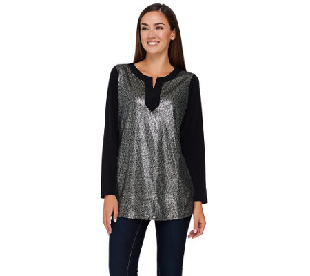 """As Is"" Quacker Factory Printed Sequin Metallic Long Sleeve Jersey Tunic"