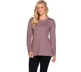 LOGO Lounge by Lori Goldstein French Terry Top w/ Printed Chiffon Godets - A279404