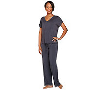 Barefoot Dreams Luxe Milk Jersey Short Sleeve V-Neck Pajama Set - A280204