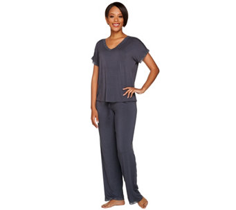 Barefoot Dreams Luxe Milk Jersey V-Neck Tee Sleep Set - A280204