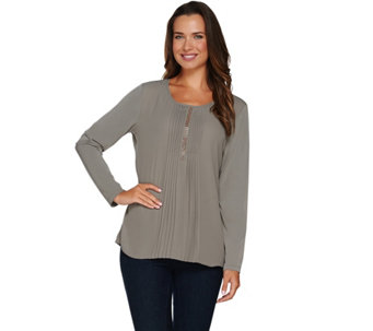 Susan Graver Artisan Liquid Knit Top with Pleated Woven Front - A282104