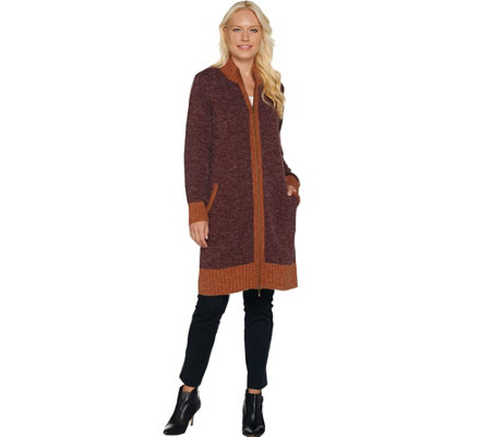 Linea Leisure by Louis Dell'Olio Double Zip Long Cardigan