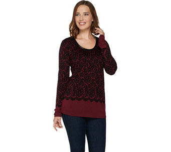 Kelly by Clinton Kelly Printed Lace Jersey Top with Satin Trim - A283504