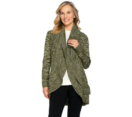 Attitudes by Renee Open Front Sweater with Ruffle Detail