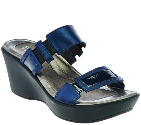 Naot Leather Double Strap Wedge Sandals - Treasure
