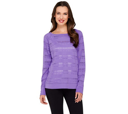 """As Is"" cee bee CHERYL BURKE Long Sleeve Pointelle Top"
