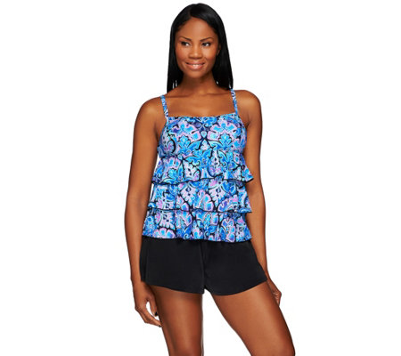 """As Is"" Fit-4-U Scoop Neck Tiered Skortini Swimsuit"