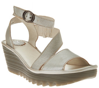 """As Is"" FLY London Leather Asymmetrical Strap Wedge Sandals - Yesk - A286504"