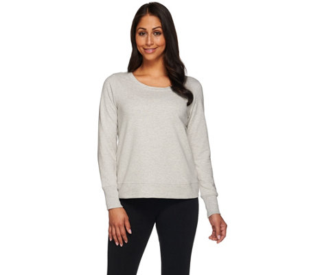 """As Is"" H by Halston Cropped French Terry Scoop Neck Sweatshirt"