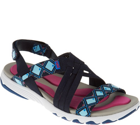 """As Is"" Ryka Multi-Strap Sandals with Foam Flexology Median"