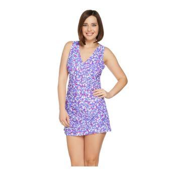 Denim & Co. Beach V-Neck Swim Dress with Side Ruching