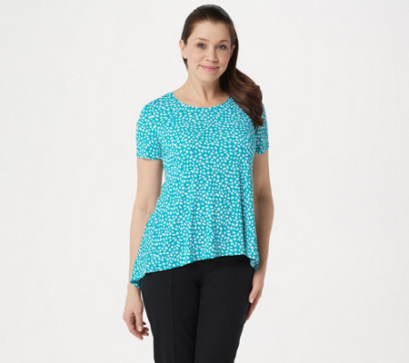 Susan Graver Printed Liquid Knit Short Sleeve U-Neck Top