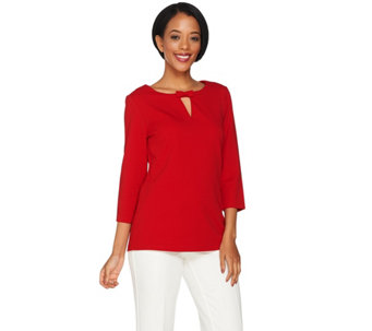 Dennis Basso Caviar Crepe Knit Top with Bow Detail - A289804