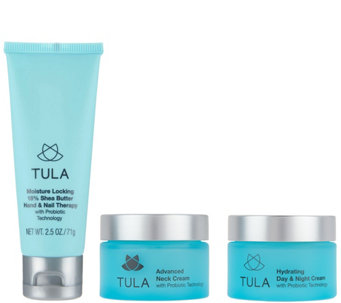TULA Probiotic Skin Care Hydrating Face, Neck, and Hand 3-Piece Set - A292604