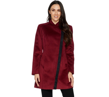H by Halston Long Sleeve Coat with Faux Suede Detail