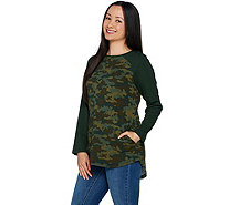 Denim & Co. Active French Terry Camo Tunic w/ High Low Hem - A294304
