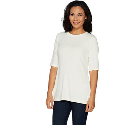 Isaac Mizrahi Live! SOHO Elbow Sleeve Knit Crewneck Top