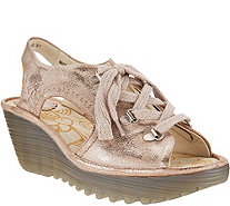 """As Is"" FLY London Leather Lace-up Wedge Sandals Ylfa - A301204"