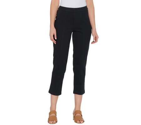 Isaac Mizrahi Live! Tall Knit Denim Crop Pull-On Jeans