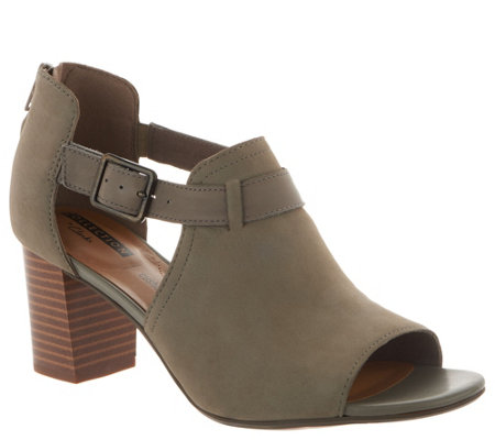 Clarks Leather Peep Toe Back Zip Booties - Deva Valeria