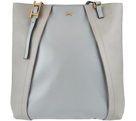 """As Is"" H by Halston Saffiano & Smooth Leather Tote Bag"