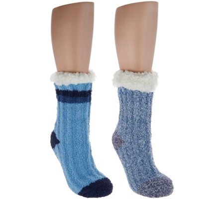 """As Is"" Cuddl Duds Sherpa Lined Cabin Socks Set of 2"